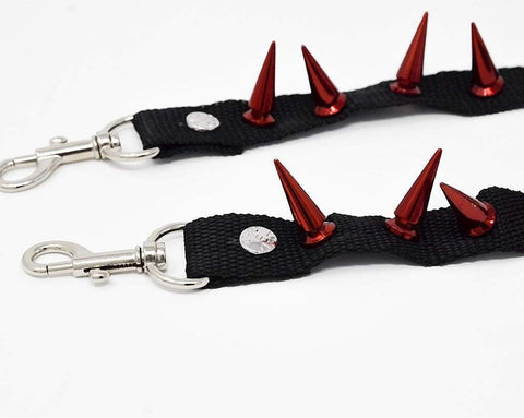Spiked Red Bondage Shoe Straps