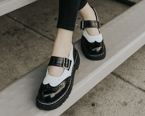 Black & White Brogue Mary Jane