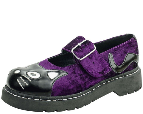 Purple Crushed Velvet Kitty Mary Janes - T.U.K.
