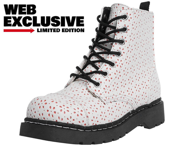 White Flower Perforated Boots