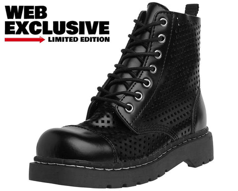 Black Perforated Boots - T.U.K.