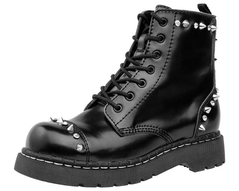 Black Stud & Gem Combat Boot - T.U.K.