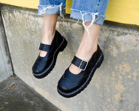 Black TUKskin™ Brogue Mary Jane