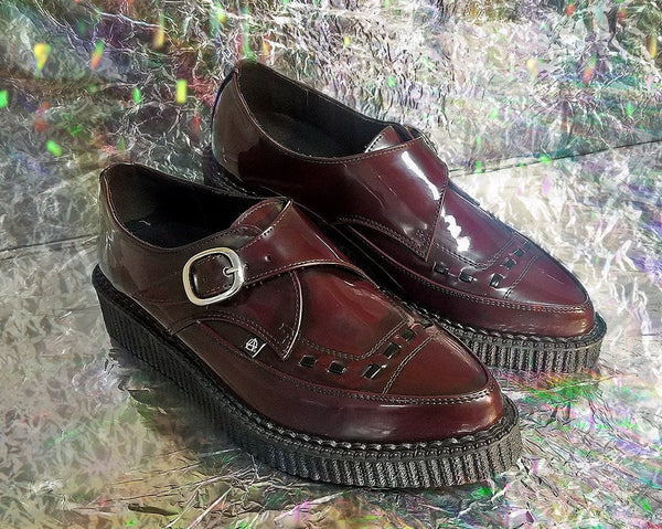 0162dd908e0e69 Burgundy Rub Off Pointed Buckle Vegan Anarchic 3 D-Ring Creepers