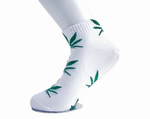 White & Green Weed Women's Sock