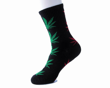 Green & Red Weed Men's Sock