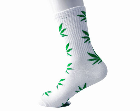 White & Green Weed Men's Sock