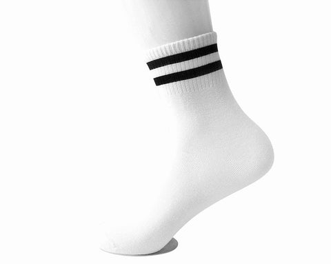 White Varsity Striped Men's Crew Sock
