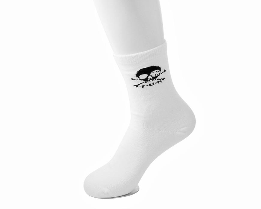 White T.U.K. Skull Logo Women's Sock