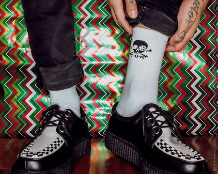 White T.U.K. Skull Logo Men's Sock