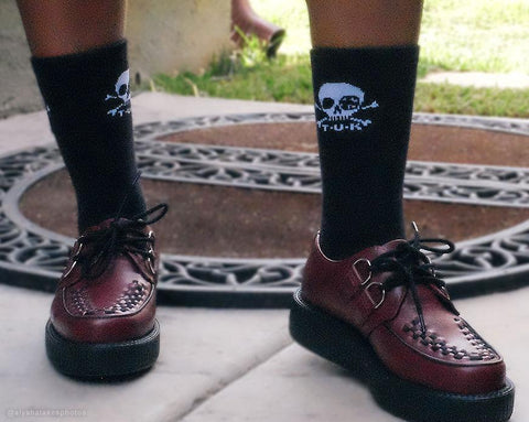 Black T.U.K. Skull Logo Women's Sock