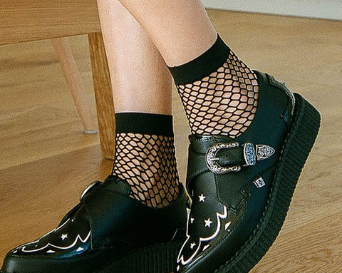 Black Fishnet Footie Crew Sock