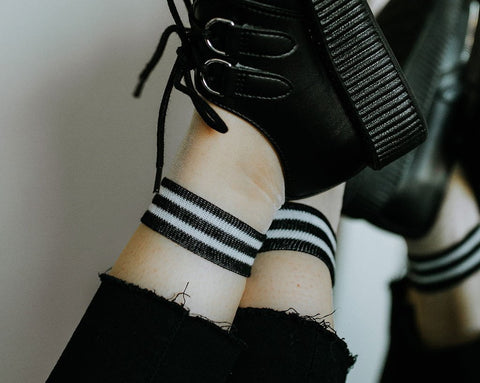 White Sheer Striped Sock