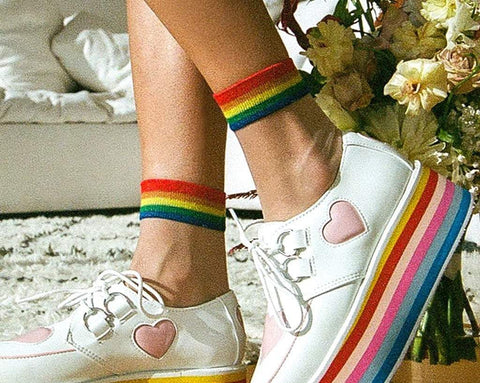 White Sheer Rainbow Sock