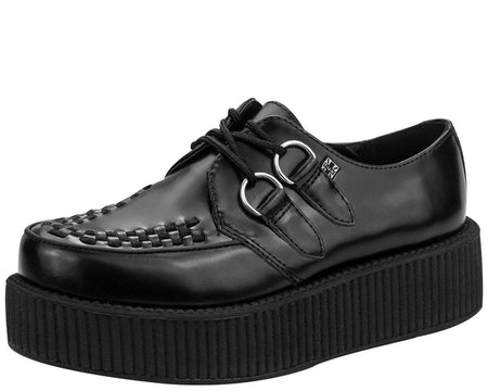 Black Leather Viva Creeper - T.U.K.