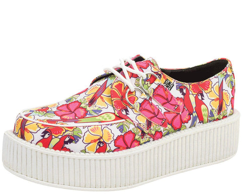 Floral White Sole Creepers - T.U.K.