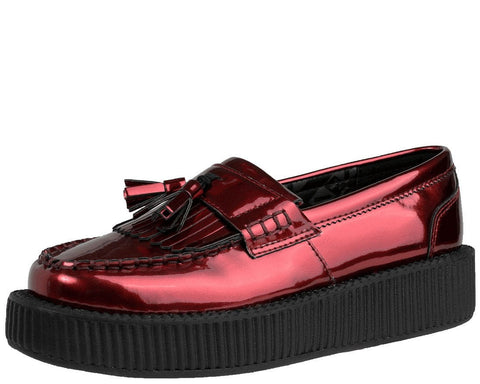 Metallic Burgundy Loafers
