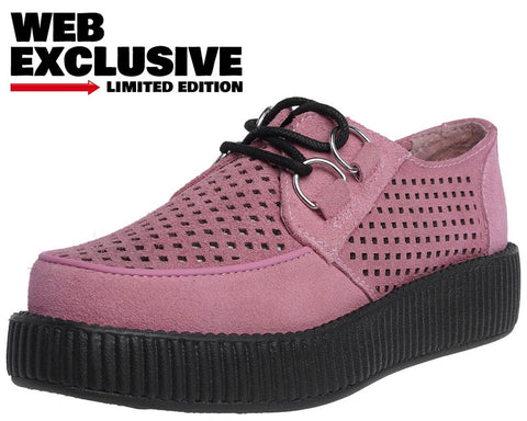 Pink Perforated Suede Creeper - T.U.K.
