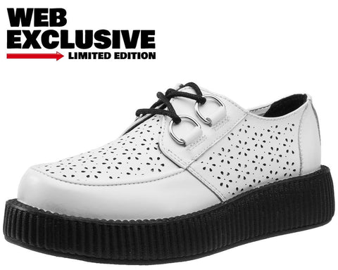 White Flower Perforated Creepers - FINAL SALE! - No Returns.