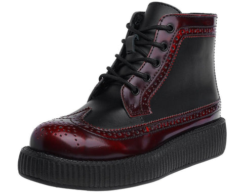 Burgundy Rub Off Wingtip Boot - T.U.K.