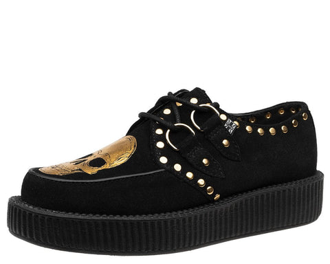 Black & Gold Skull Studded Creeper - T.U.K.