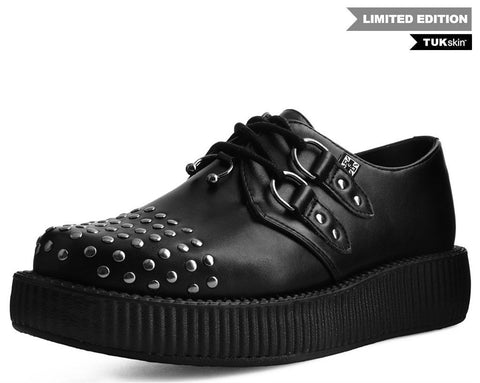 Black TUKskin™ Studded & Pierced Viva Low Creeper