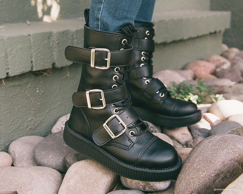 Black TUKskin™ 3 Big Buckle Viva Low Boot