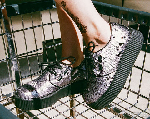Gunmetal Two-Way Sequin Viva Mondo Creeper