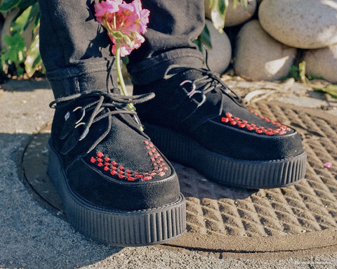 Black Suede & Red Interlace Viva Mondo Creeper