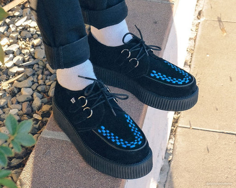 Black Suede & Blue Interlace Viva Mondo Creeper