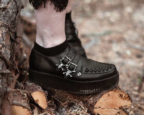 Black TUKskin™ 2-Buckle Skull Creeper