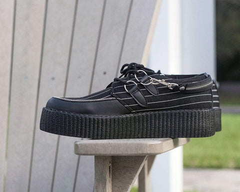 Pinstripe D-Ring Zipper Strap Creeper