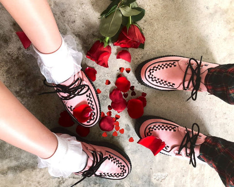 Rosy Pink Faux Suede Interlace Creeper