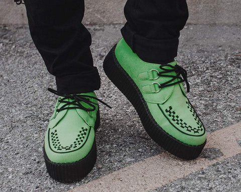 Lime Faux Suede Interlace Creeper