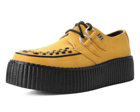 Mustard Faux Suede D-Ring Interlace Viva High Creeper