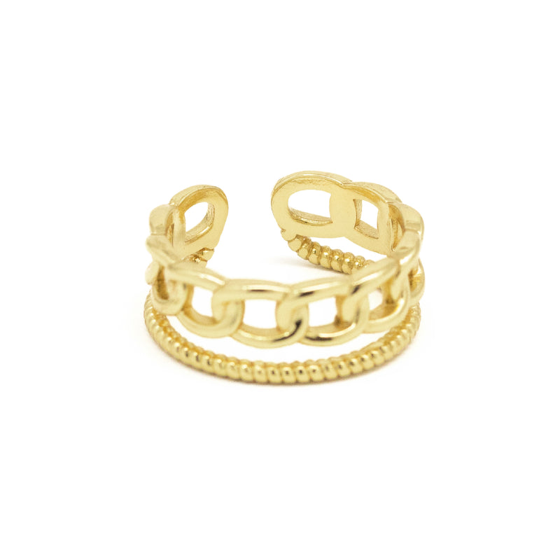 Chain Link Ring with Twisted Rope