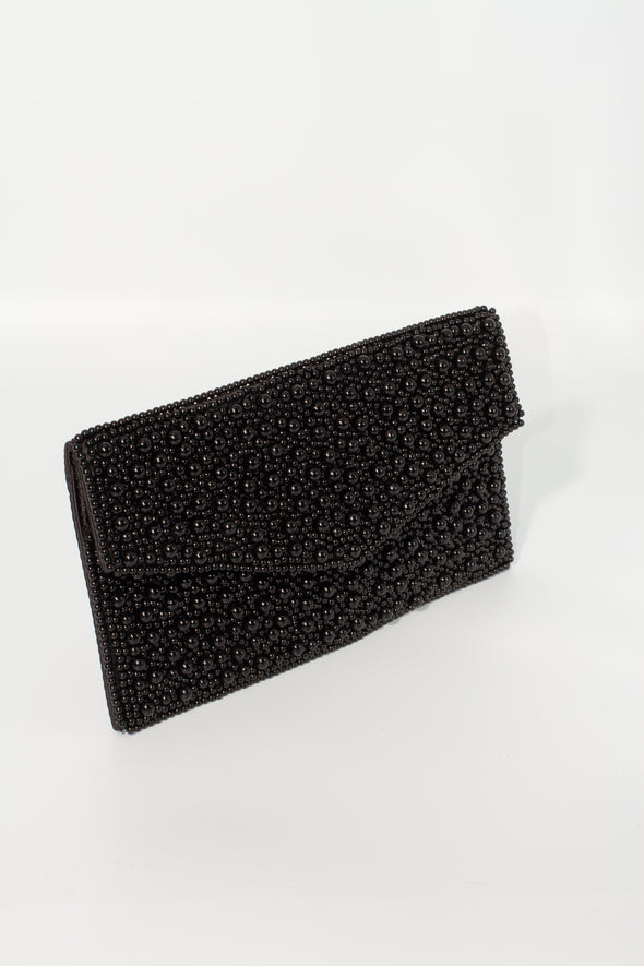 Beaded Envelope Clutch - Black
