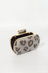 Burlap Animal Print Clutch