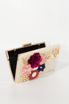 Velvet Flower Embellished clutch