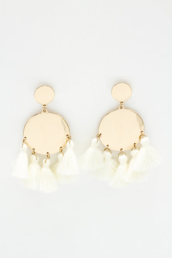 Gold Moon Tassel Earrings