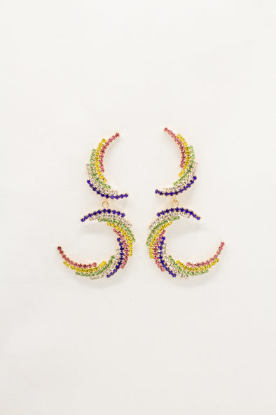 Double Crystal Crescent Earrings