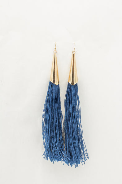 Gold Funnel Tassel Earrings