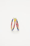 Rainbow Bead Open Hoops