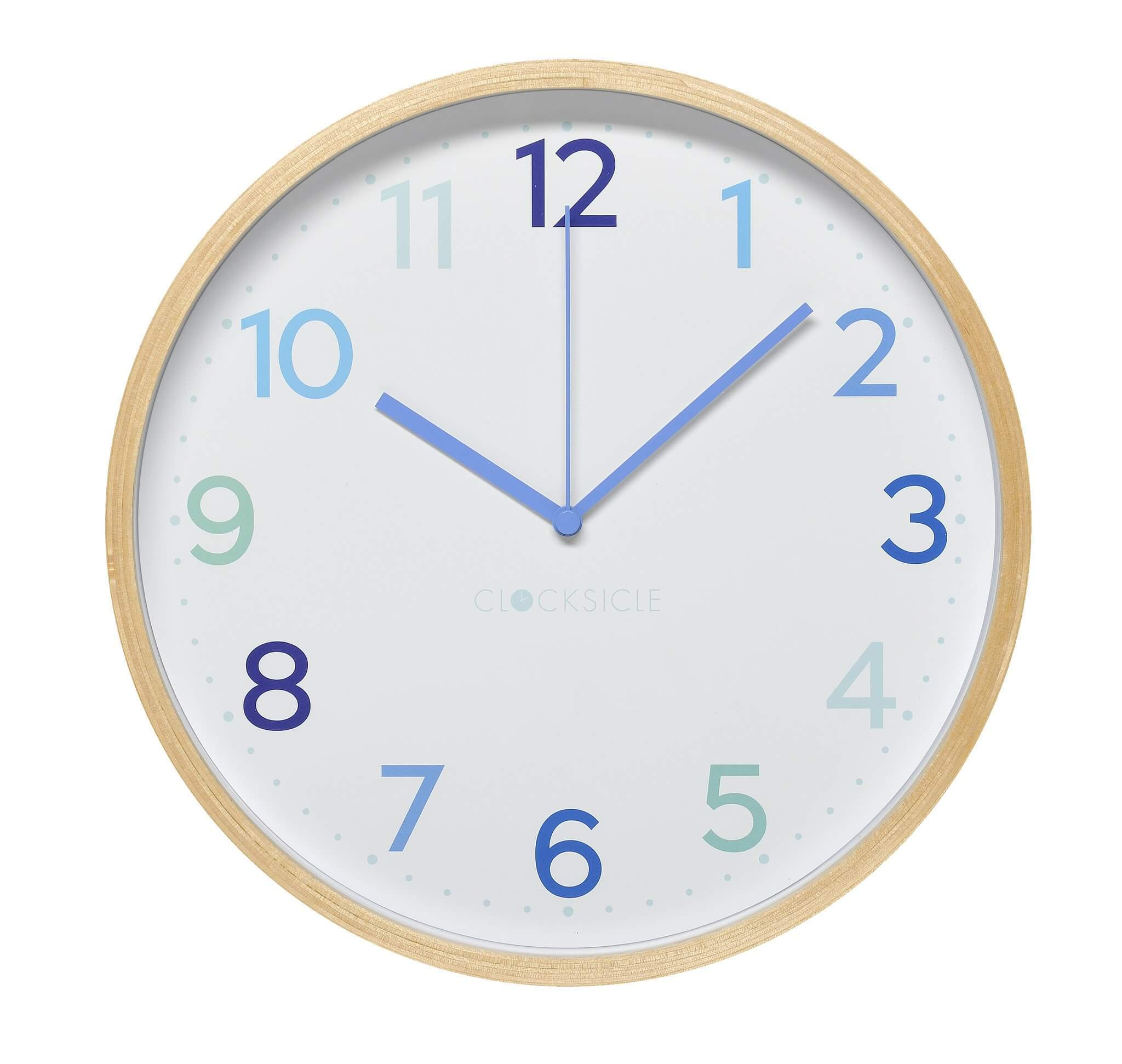 Blue Kid's Wall Clock with wooden rim