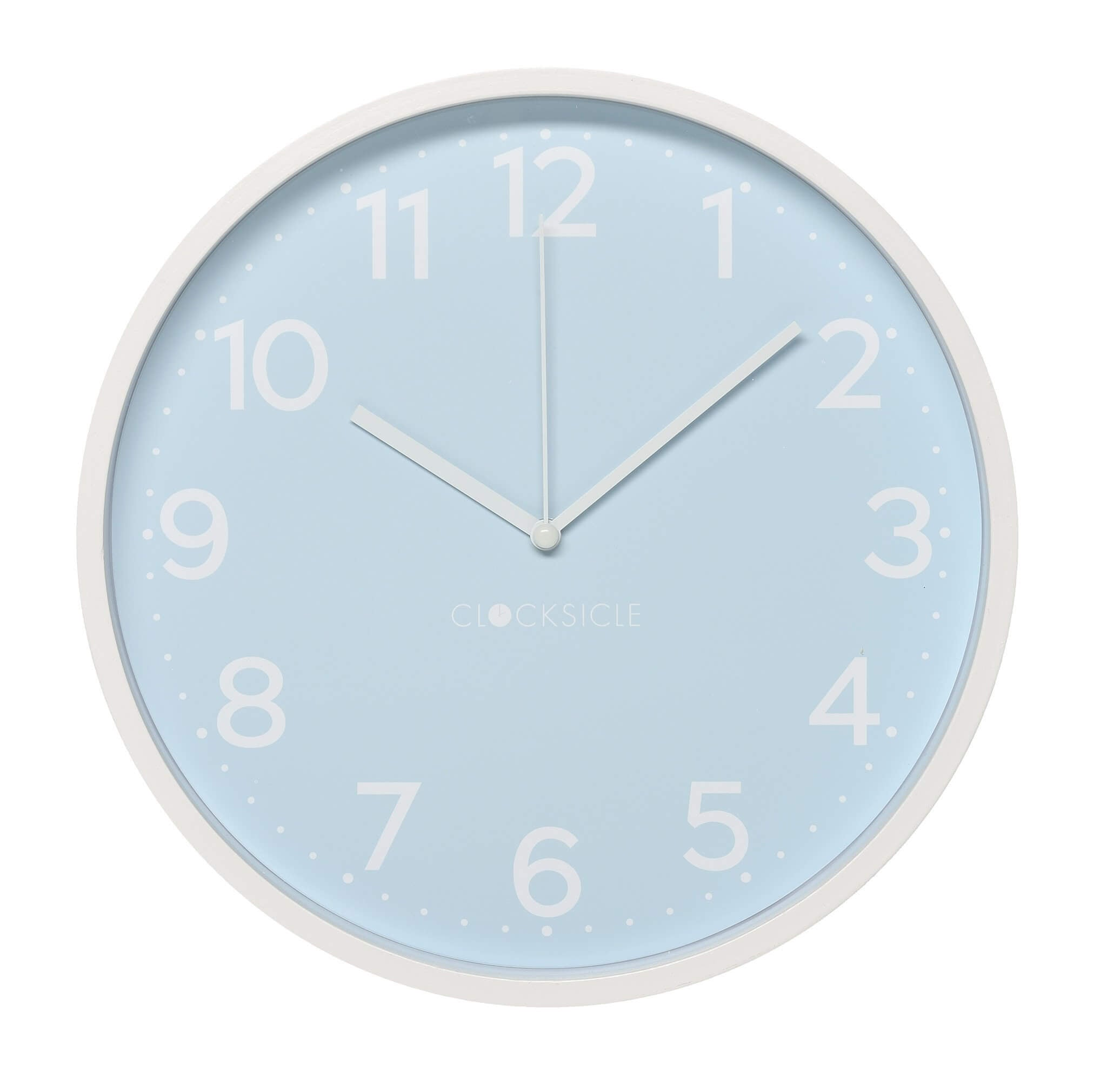 Pale Blue Children's Wall Clock with white rim