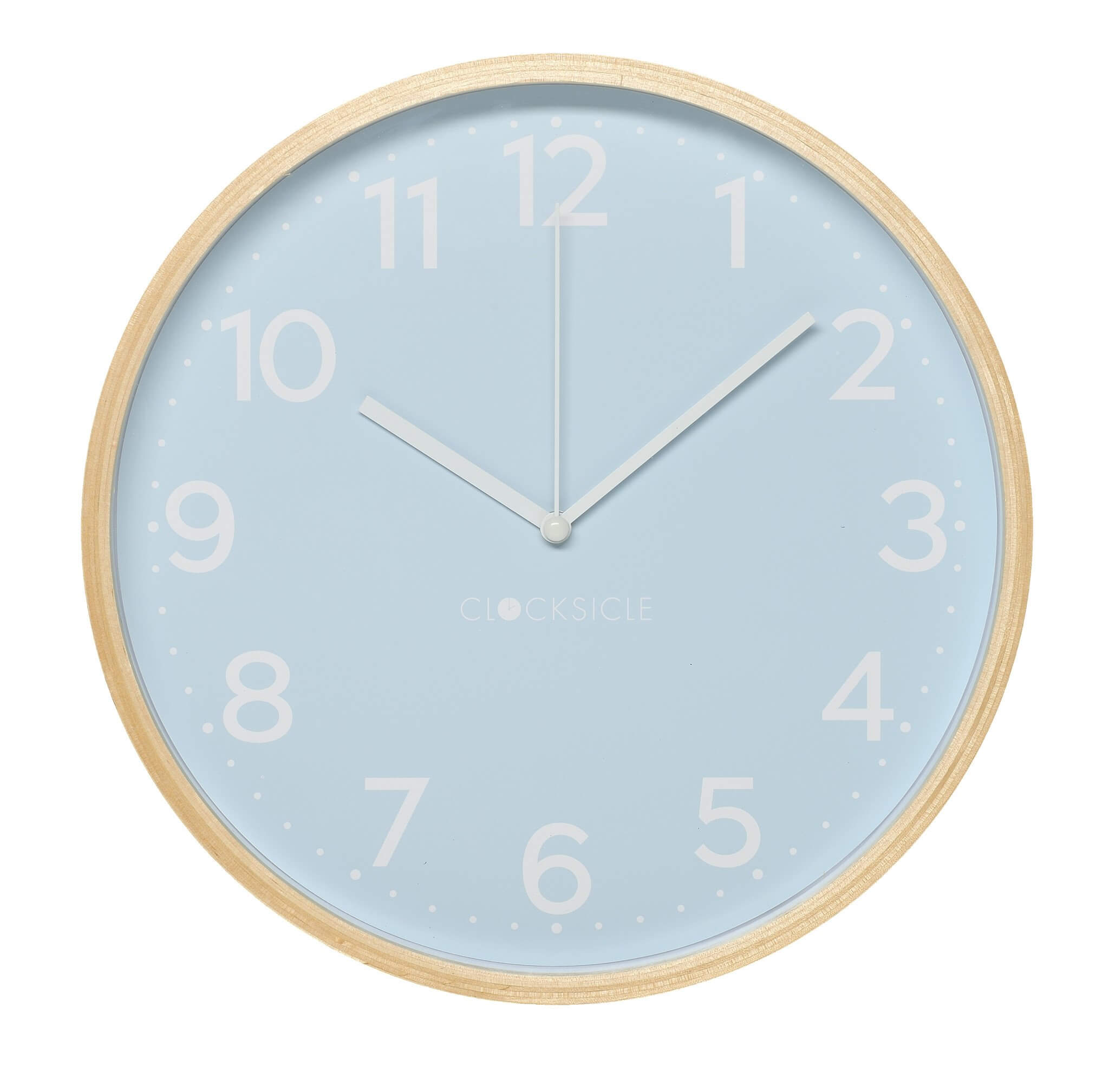 Pale Blue Children's Wall Clock with wooden rim
