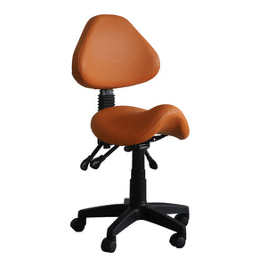 Saddle Shape Stool with Back Support and Tilt-able Seat (Orange)