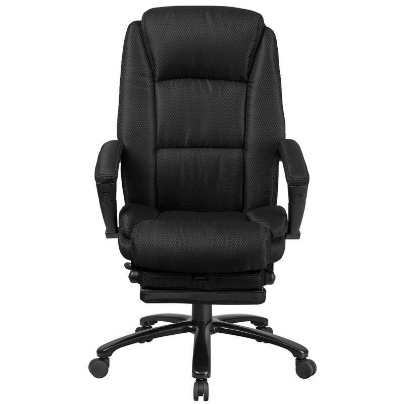 Black Reclining Fabric Swivel Chair With Armrests