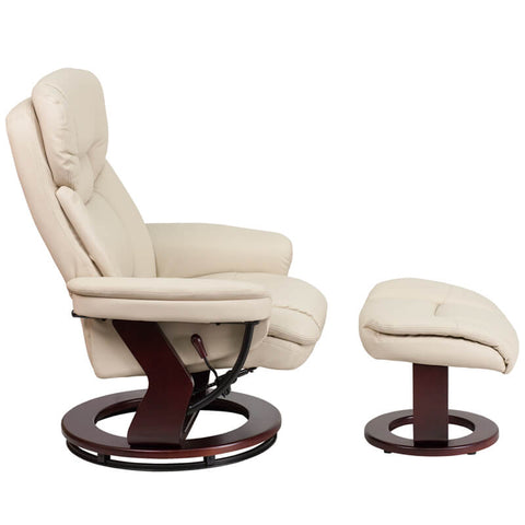Leather Recliner and Ottoman with Swiveling Base | SitHealthier