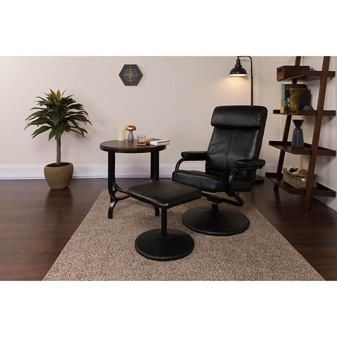 Leather Recliner and Ottoman with Leather Wrapped Base | SitHealthier